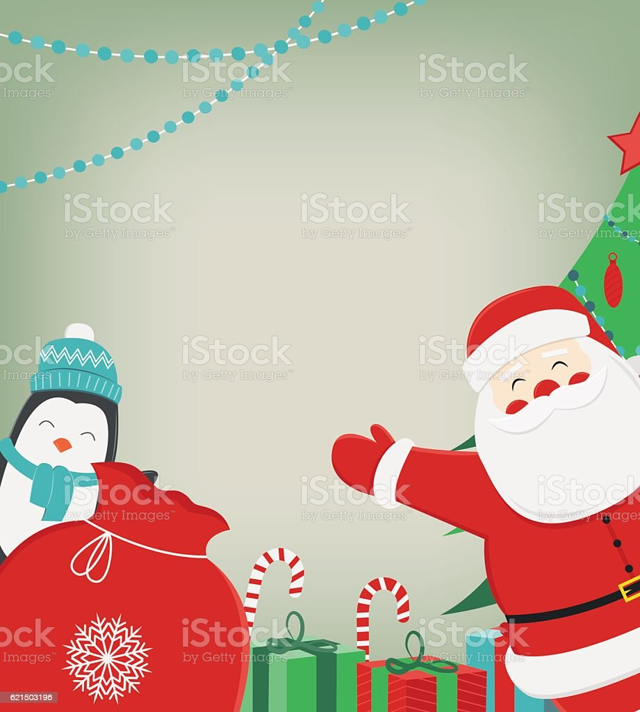 Christmas composition with Santa Claus and Penguin. Christmas greeting card. Lizenzfreies christmas composition with santa claus and penguin christmas greeting card stock vektor art und mehr bilder von altertümlich