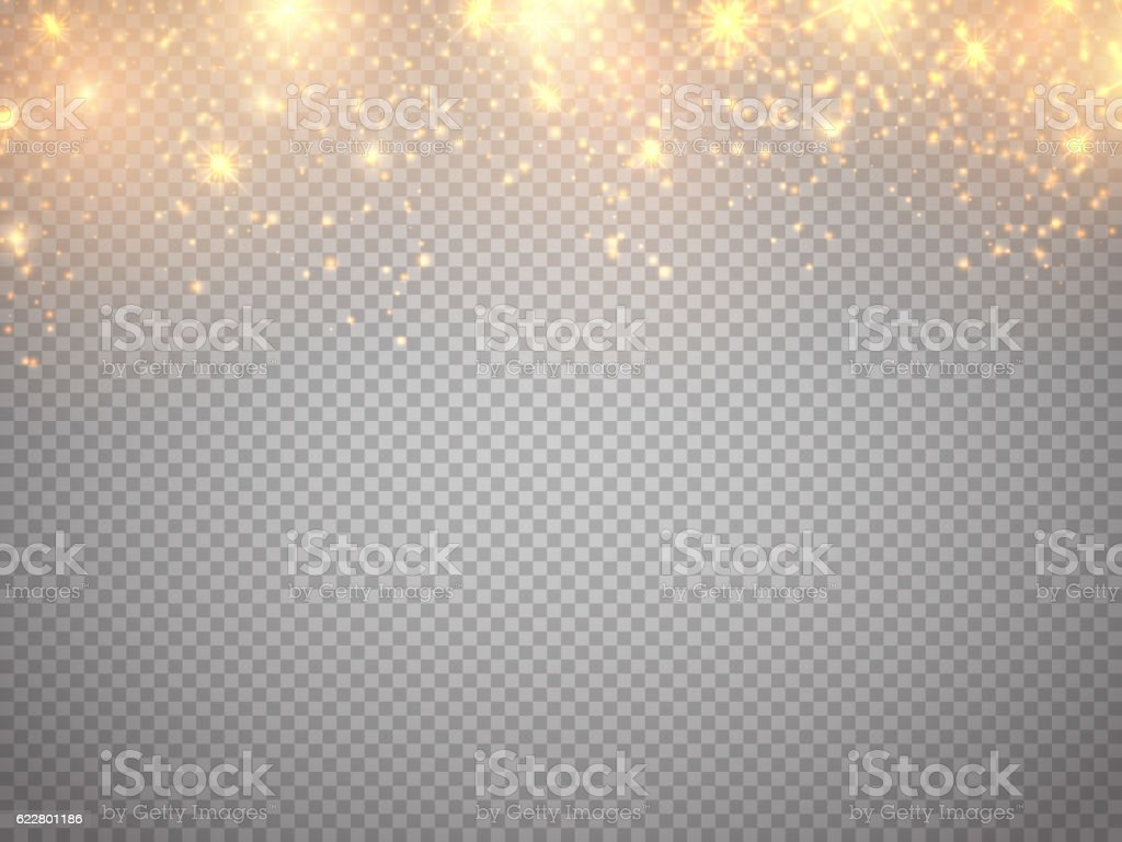 Christmas concept. Fallen glow magic stars vector art illustration