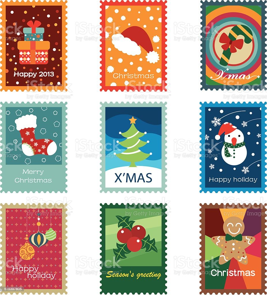 Christmas Concept Stamps vector art illustration