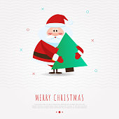 Christmas concept with funny Santa Claus holding christmas tree in hands for greeting card or invitation. Modern vector illustration in flat style.