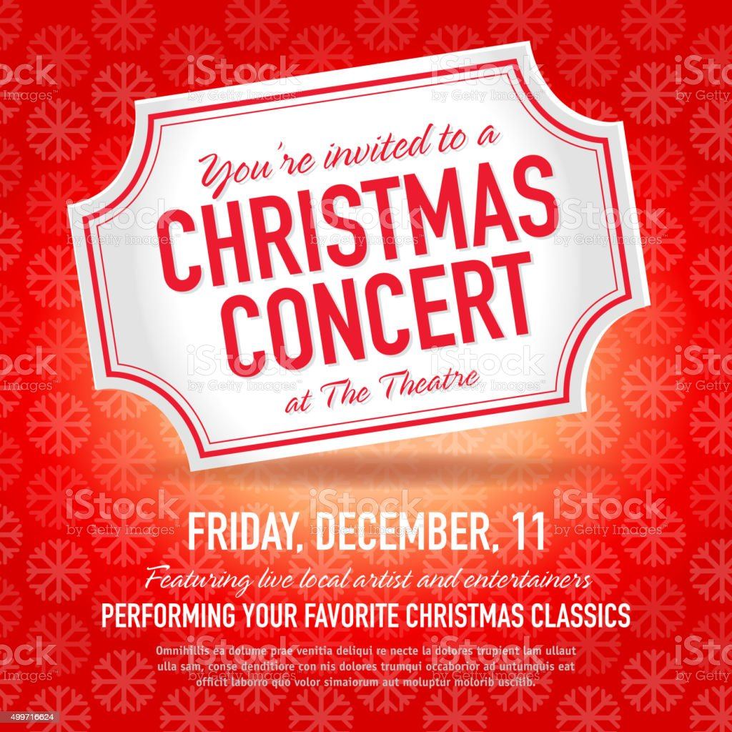 Christmas Concert Ticket Invitation Design Template Royalty Free Christmas Concert  Ticket Invitation Design Template Stock  Concert Ticket Invitations Template