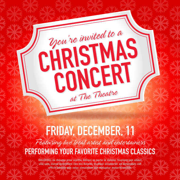 royalty free set of christmas concert tickets templates clip art