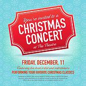 Vector illustration of a Christmas Concert ticket invitation design