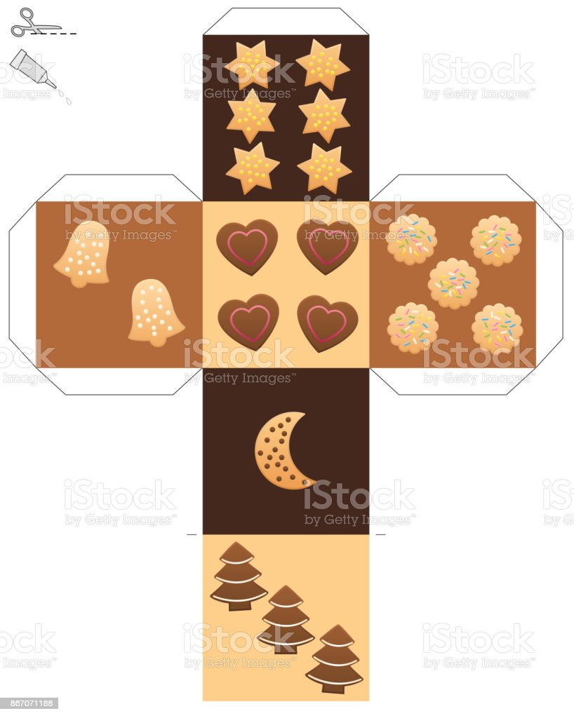 Christmas cookie dice template of a cube with cookies and christmas cookie dice template of a cube with cookies and gingerbread instead of dice eyes maxwellsz