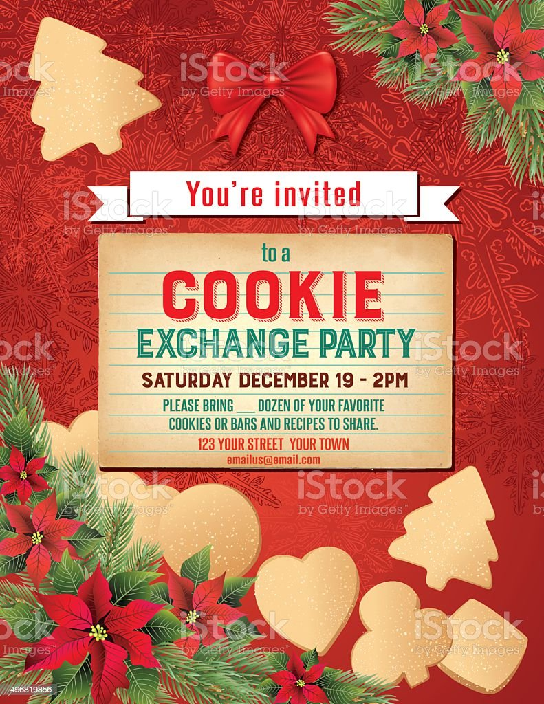 Christmas Cookie Exchange Party Invitation Template Stock Vector Art ...