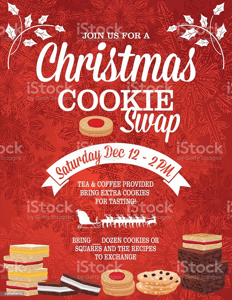 Christmas Cookie Exchange Party Invitation Template Stock Vector ...