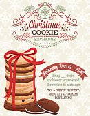 "Christmas Cookie Exchange Party Invitation template with a stack of cookies tied with a ribbon. There is an ornament at the top with the text ""Christmas"" cookie exchange"". The is a ribbon on the lower right for the date and details of the party."