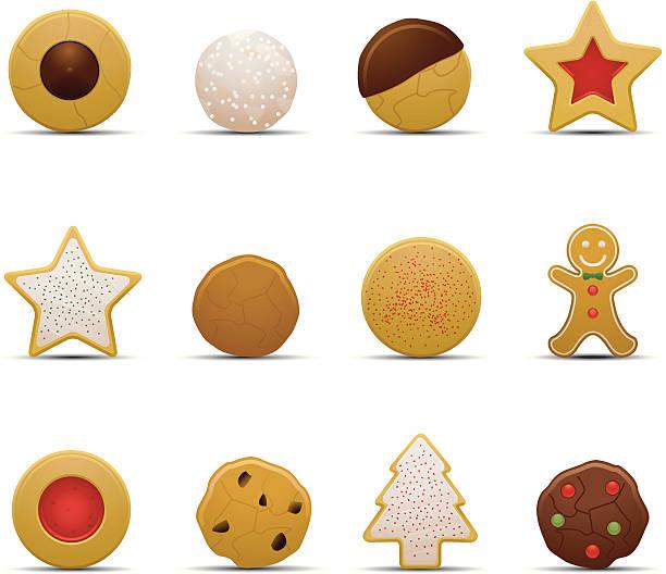 christmas cookie symbole - weihnachtsschokolade stock-grafiken, -clipart, -cartoons und -symbole