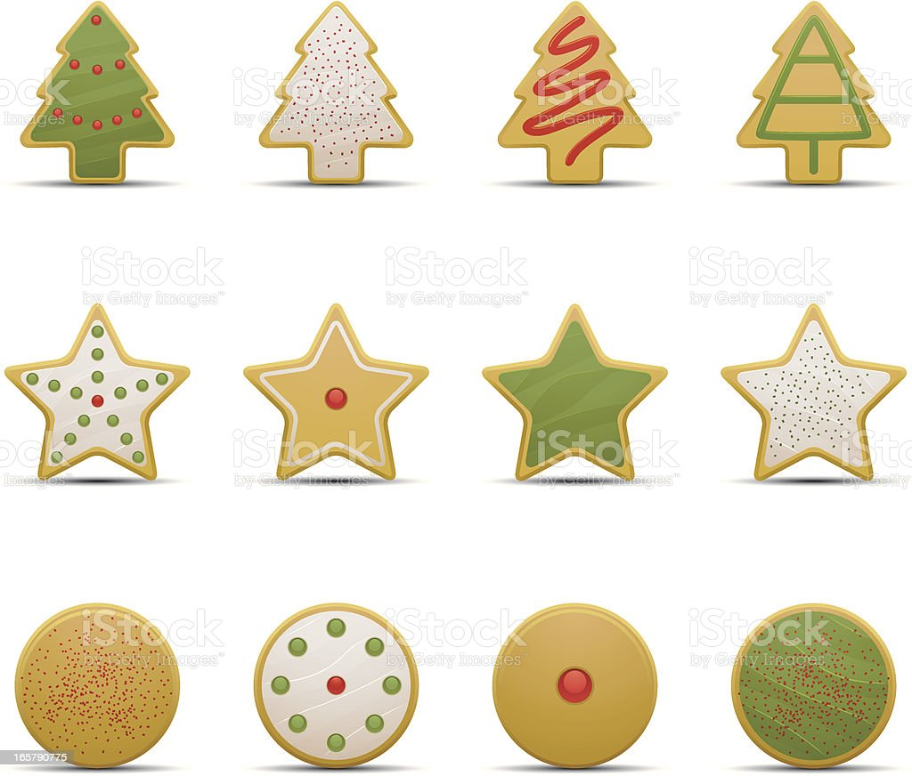 Christmas cookie icons with sprinkles vector art illustration