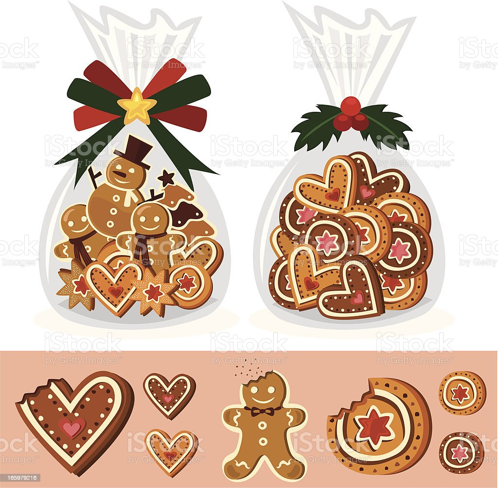 Christmas cookies and gingerbread man vector art illustration