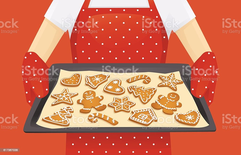 Christmas cookies background vector art illustration