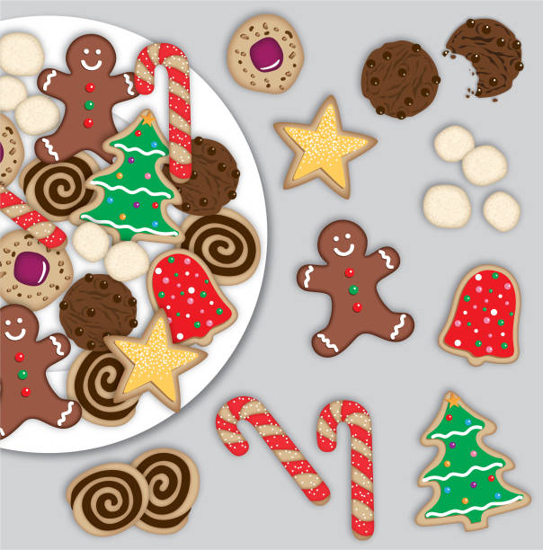 bildbanksillustrationer, clip art samt tecknat material och ikoner med jul cookies digital illustration - tallrik uppätet