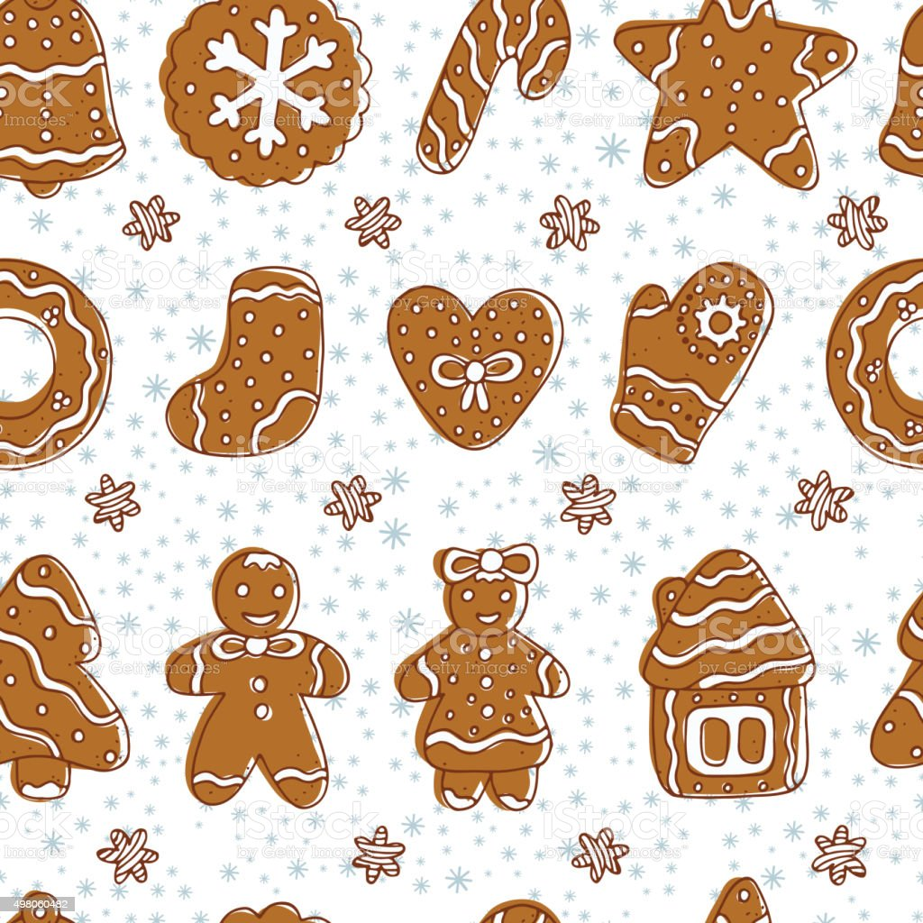 Christmas Cookies Gingerbread Vector Seamless Pattern Merry