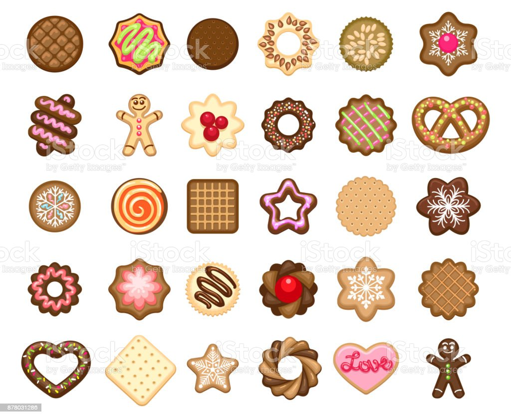 Christmas cookies icons vector art illustration