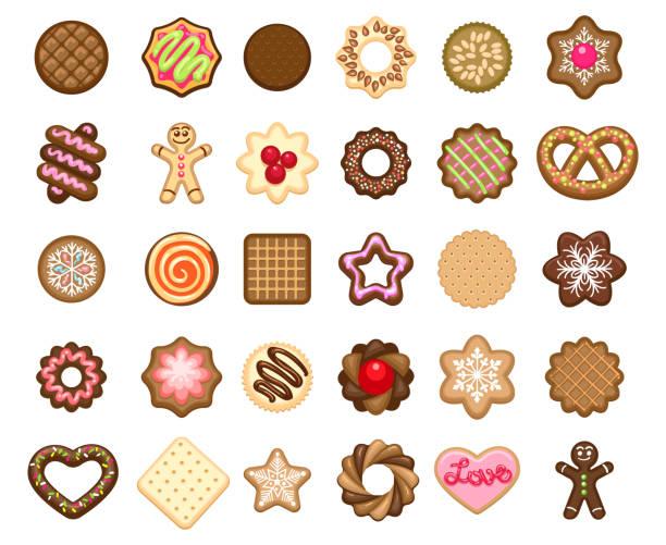 weihnachtsplätzchen symbole - weihnachtsschokolade stock-grafiken, -clipart, -cartoons und -symbole