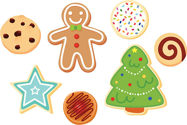 stockillustraties, clipart, cartoons en iconen met christmas cookies - speculaas