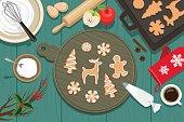 Christmas cookies on the table.