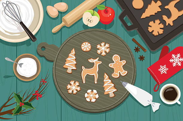 ilustrações de stock, clip art, desenhos animados e ícones de cookies de natal - christmas table