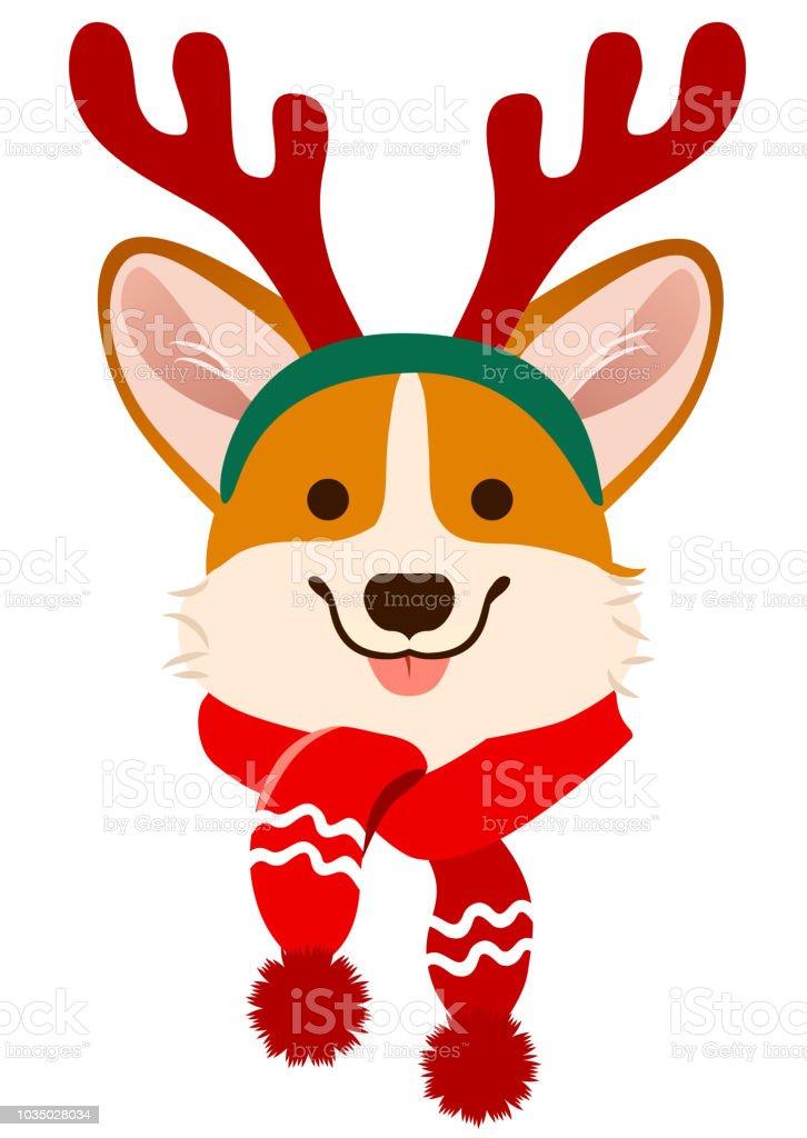 christmas corgi dog cute cartoon vector portrait pembroke welsh corgi puppy dog wearing antlers and - Christmas Corgi