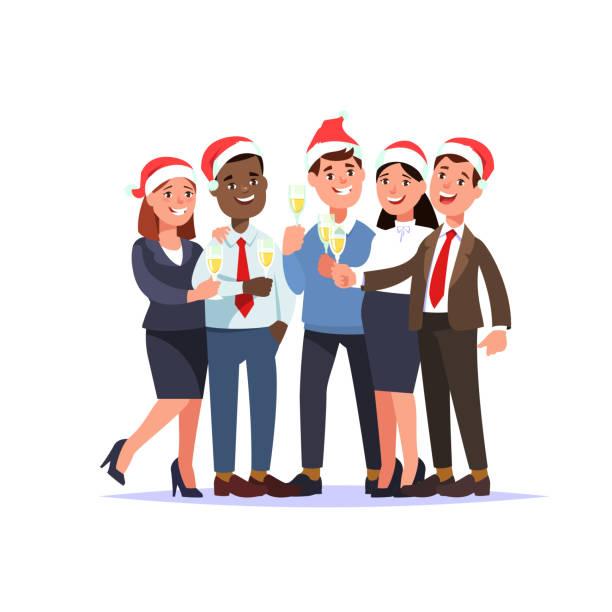 firmenfeier weihnachten in ofice - firmenweihnachtsfeier stock-grafiken, -clipart, -cartoons und -symbole