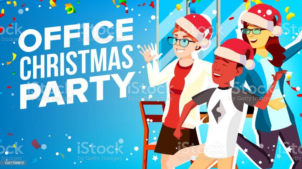 Christmas Corporate Party Vector. Having Fun. Group People In Santa Hat. Businesspeople Team. Cartoon Illustration vector art illustration