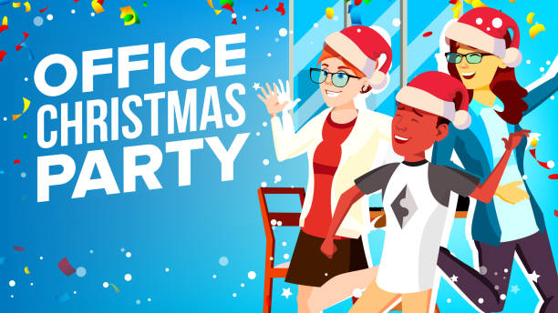 christmas corporate party vector. having fun. group people in santa hat. businesspeople team. cartoon illustration - office party stock illustrations, clip art, cartoons, & icons