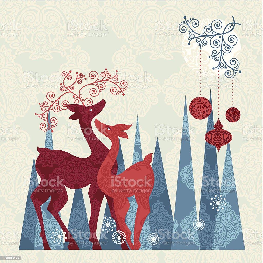 Christmas Couple Reindeer royalty-free stock vector art