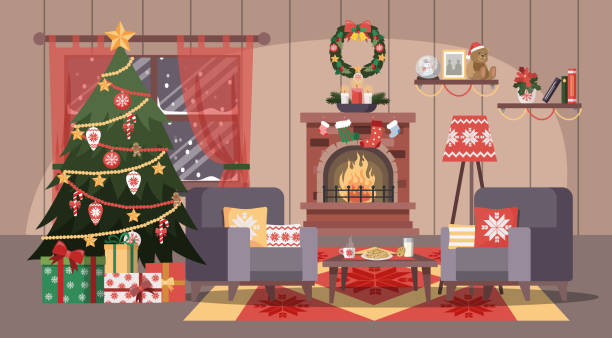 1 597 Christmas Living Room Illustrations Royalty Free Vector Graphics Clip Art Istock