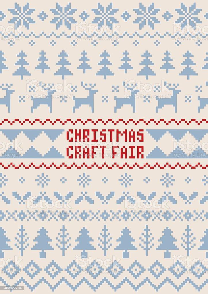 Christmas Craft Fair Poster - Handmade Seamless Pattern - Royaltyfri Affisch vektorgrafik