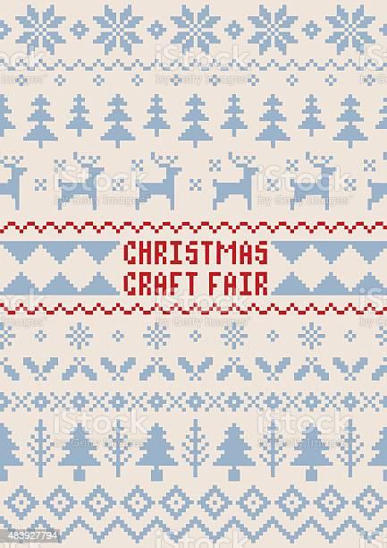 Christmas Craft Fair Poster Handmade Seamless Pattern-vektorgrafik och fler bilder på Affisch