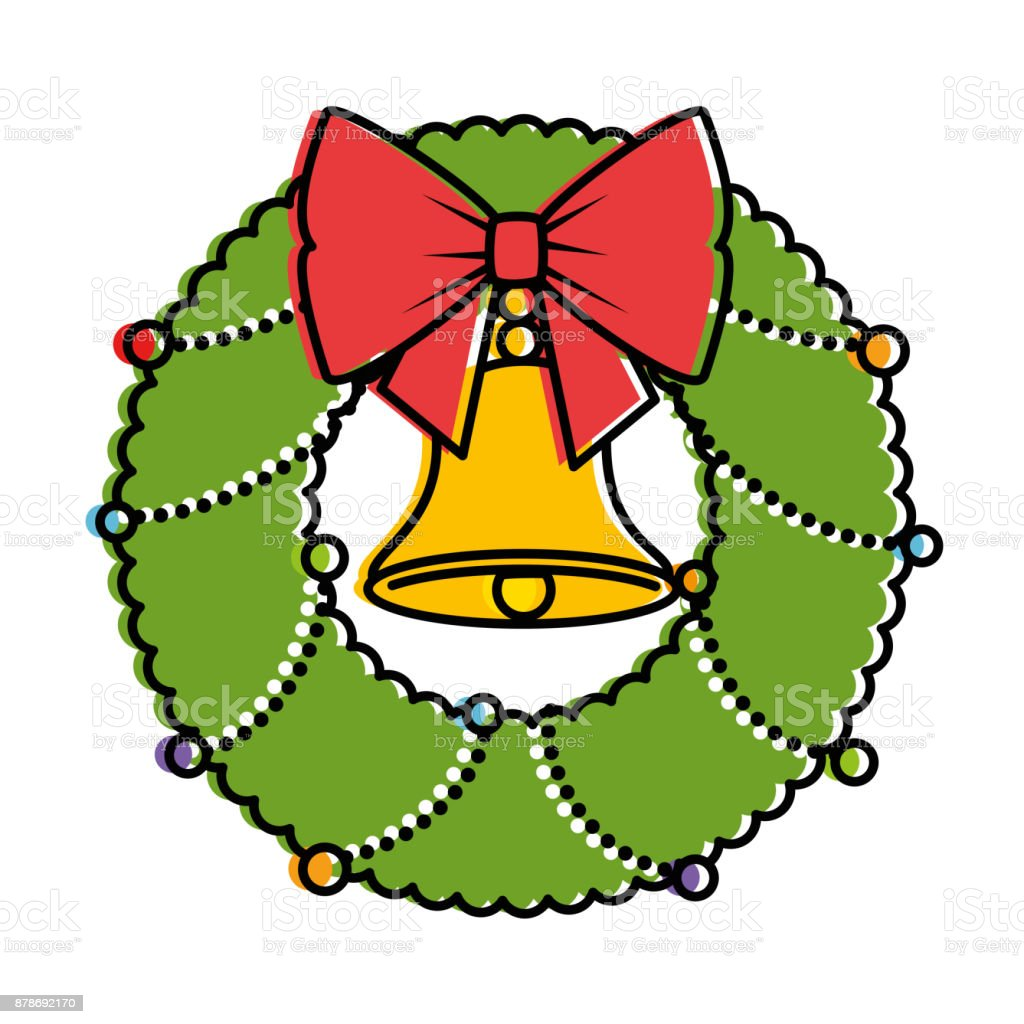 christmas crown with bell decorative vector art illustration