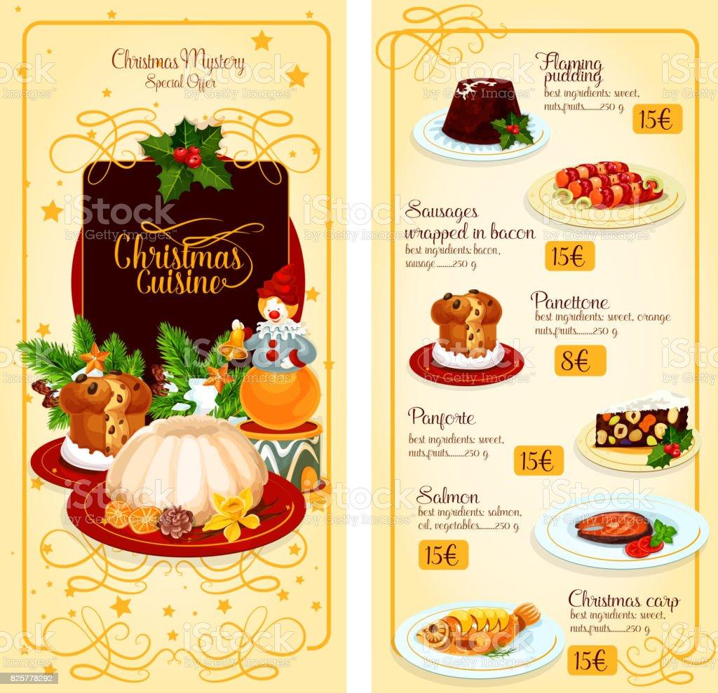 Diseño De Plantilla De Menú De Navidad Cocina Restaurante - Arte ...