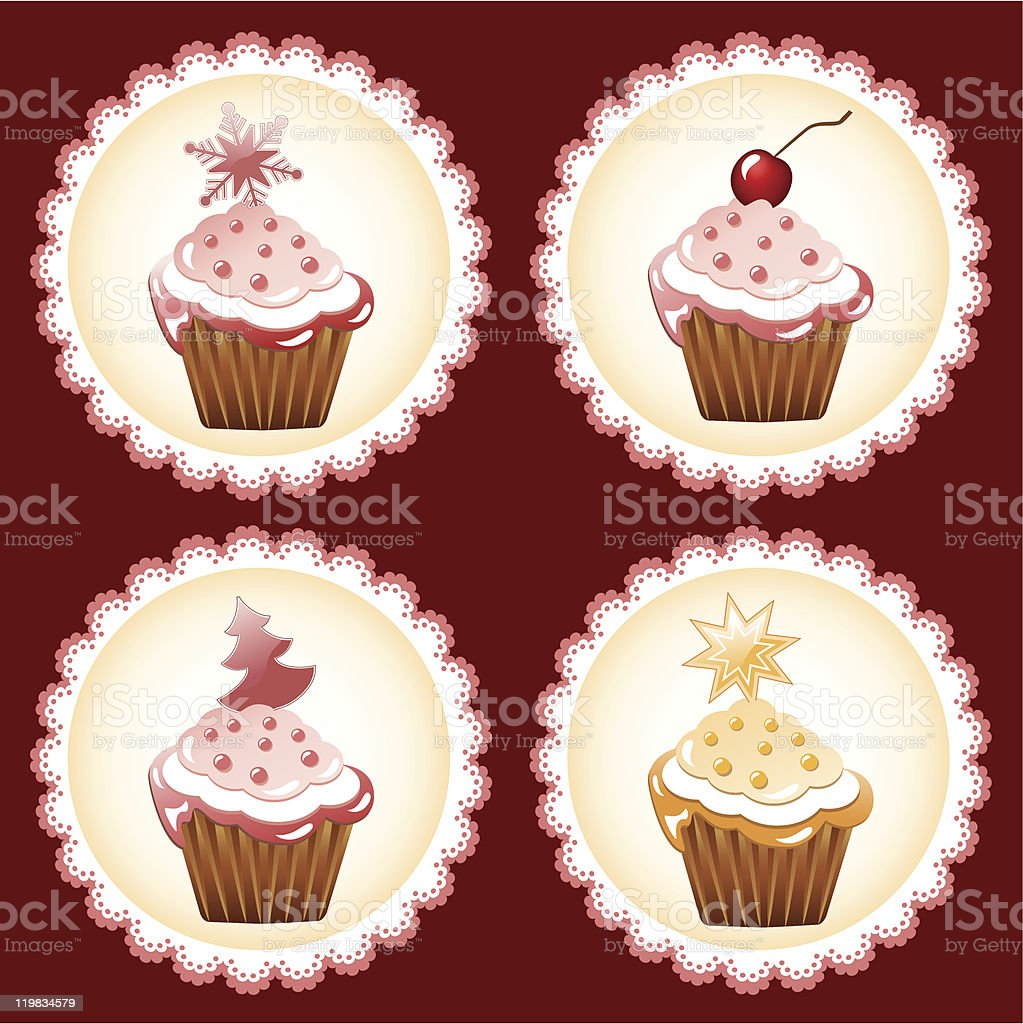 Christmas cupcake collection. royalty-free stock vector art