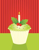 Christmas cupcake with holly and dragees. Includes, Illustrator 8.0 eps file, Illustrator CS2 ai file and high-res jpeg. Background on seperate layer, can be turned off to use as an isolated object.