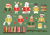 Christmas cute characters reading books. Set from cute fantasy hand-drawn elf, snowman and animals: cat, hare, fox, rabbit, pig, bear and deer. Children holiday's education illustration.