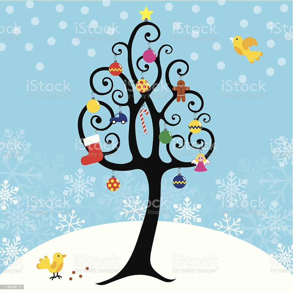 Christmas cute curly tree card royalty-free stock vector art