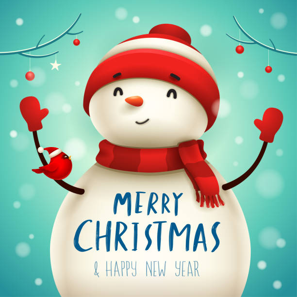 Christmas Cute Little Cheerful Snowman with Red Scarf and Santa's Cap. Christmas cute cartoon character. snowman stock illustrations