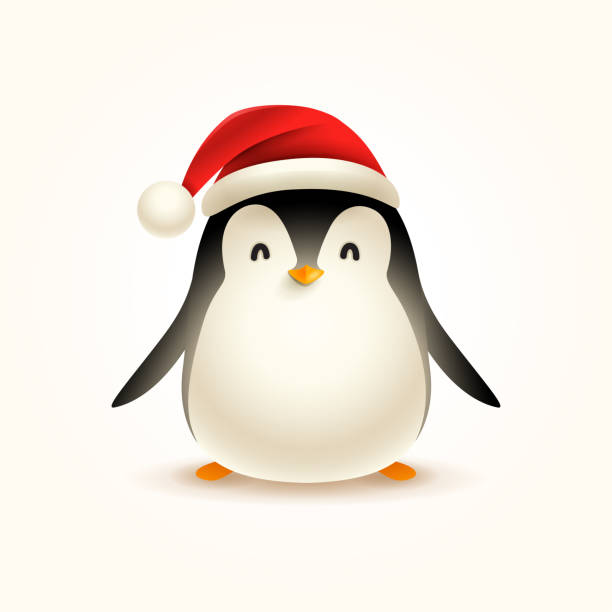 christmas cute little penguin with santa's cap. - penguin stock illustrations