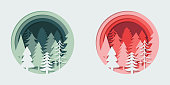Paper cutout Christmas trees set. Holiday greeting card. EPS10 vector illustration, global colors, easy to modify.
