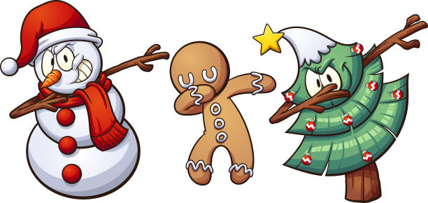 Christmas dabbing Christmas dabbing characters. Vector clip art illustration with simple gradients. Each on a separate layer. gingerbread man stock illustrations