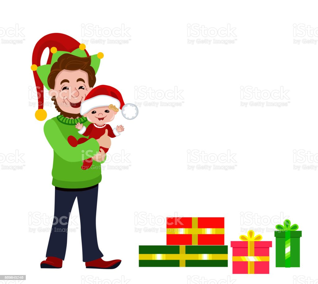 Christmas Dad Elf With Baby And Gifts Stock Vector Art & More Images ...
