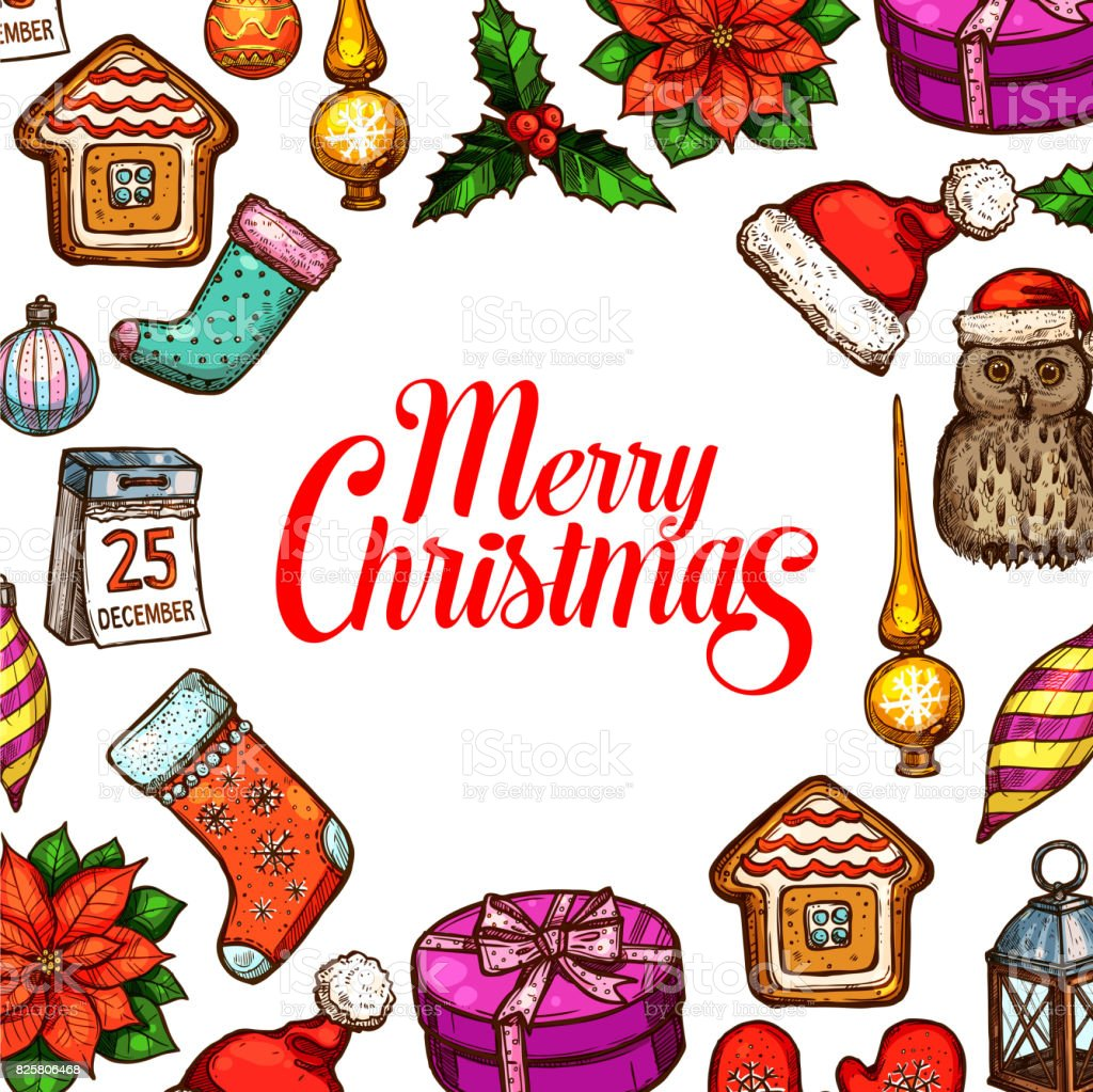 Christmas Day Holiday Poster With Xmas Sketches Stock