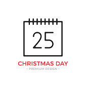 Christmas day line icon. Calendar with number 25. Linear style. December 25 holiday concept. Vector outline icon