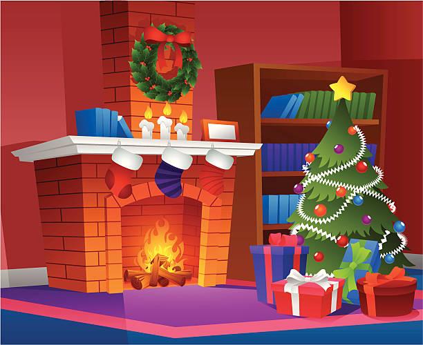 stockillustraties, clipart, cartoons en iconen met christmas decor at home - fireplace