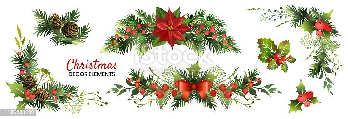 Christmas decor elements set for your design. Garland fective set. Vector illustration.