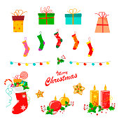 Christmas decor set with socks, lanterns, gifts, candles, holly leaves and cookies