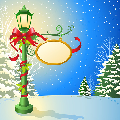 Christmas Decorated Lampost
