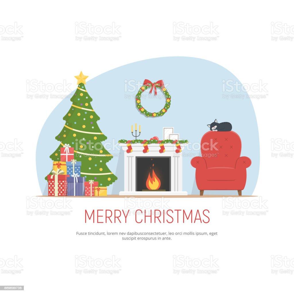 Noël décoration salon. Chambre confortable avec cheminée, rouge fauteuil, arbre et tas de cadeaux de Noël. Fond de Noël dans un style plat. - Illustration vectorielle