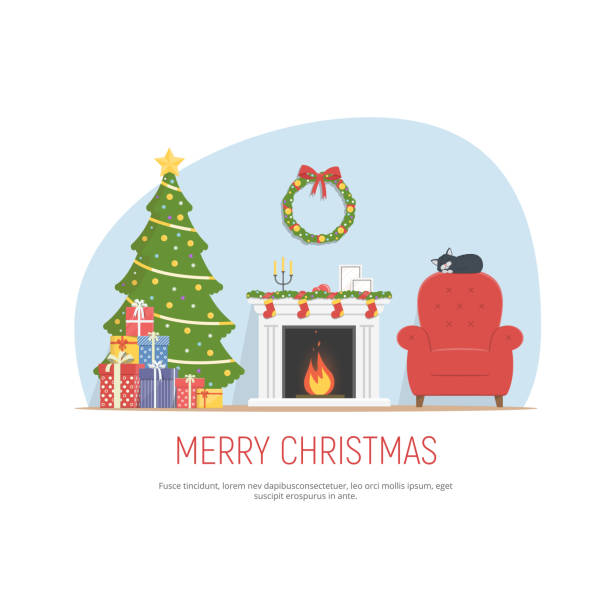 ilustrações de stock, clip art, desenhos animados e ícones de christmas decorated living room. cozy room with fireplace, red armchair, christmas tree and pile gifts. christmas background in flat style. - braseiro