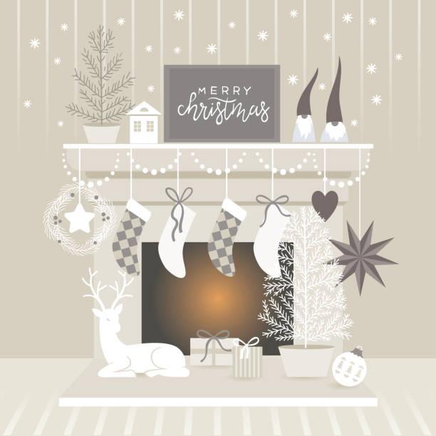 ilustrações de stock, clip art, desenhos animados e ícones de christmas decorating - braseiro